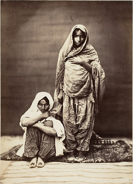 [Two Indian Women, One Seated], Unknown (British), Albumen silver print