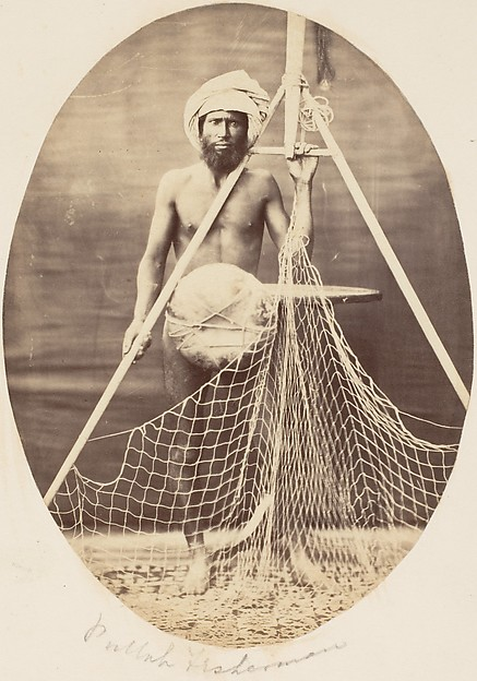 Pullah Fisherman, Unknown (British), Albumen silver print from glass negative