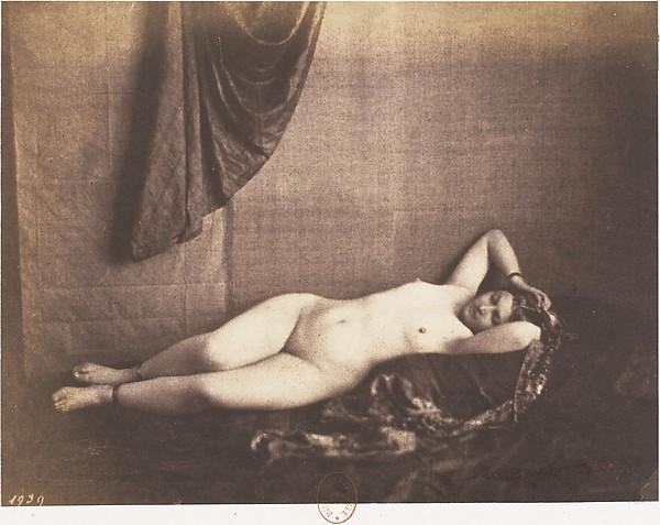 [Reclining Nude], Julien Vallou de Villeneuve (French, 1795–1866), Salted paper print from paper negative