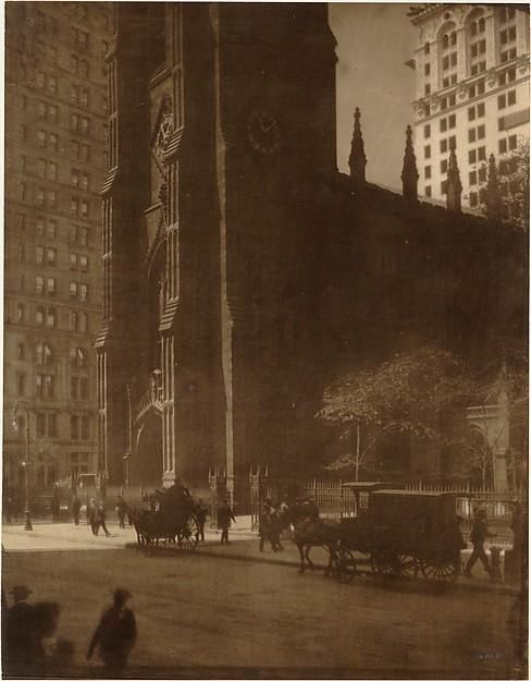 Trinity Church, New York, Edward J. Steichen (American (born Luxembourg), Bivange 1879–1973 West Redding, Connecticut), Gum bichromate over platinum print