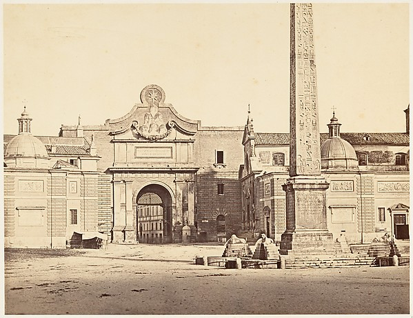 Porta del Popolo, Eugène Constant (French, active Italy, 1848–55), Albumen print from glass negative