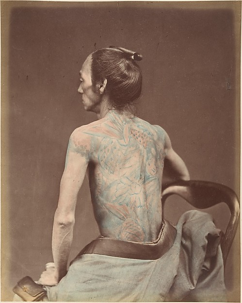 Mechanic Tattooing, Unknown, Albumen silver print from glass negative with applied color