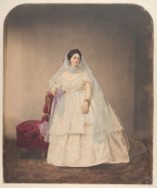 [Portrait in a White Dress], Pierre-Louis Pierson (French, 1822–1913), Salted paper print from glass negative with applied color