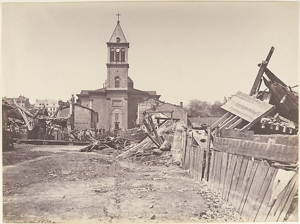 The Floods of 1856, Church of Saint-Pothin, Lyon, Édouard Baldus (French, born Prussia, 1813–1889), Salted paper print from paper negative