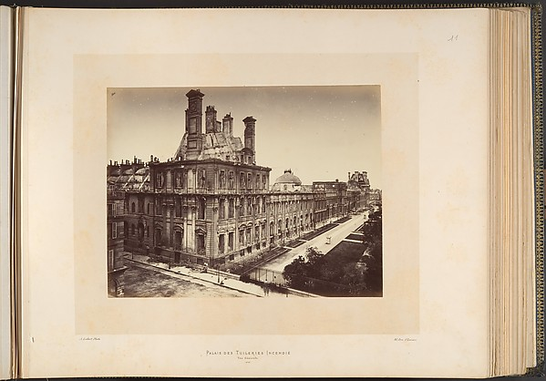 Tuileries Palace, Burned. General View, Alphonse J. Liébert (French, 1827–1913), Albumen silver print from glass negative