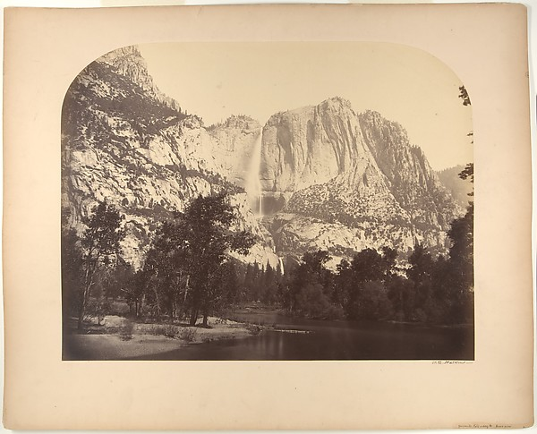 Yosemite Falls, River View, 2637 Feet, Carleton E. Watkins (American, 1829–1916), Albumen silver print from glass negative