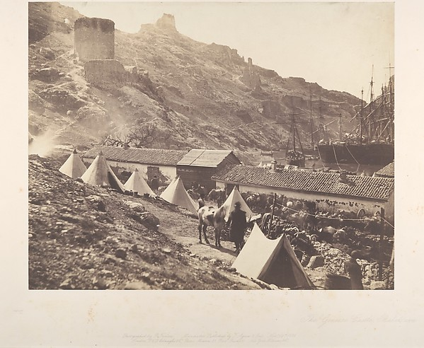 The Genoese Castle, Balaklava, Roger Fenton (British, 1819–1869), Salted paper print from glass negative