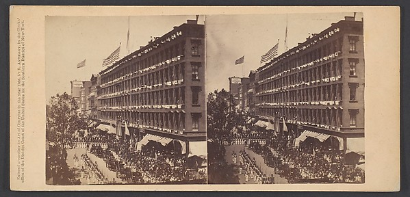 The Embassy Leave the Metropolitan for the City Hall, the Seventh Regiment Form a Hollow Square With the Carriages of the Embassy in the Middle, Edward Anthony (American, 1818–1888), Albumen silver print from glass negative