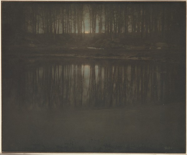 The Pond - Moonrise, Edward J. Steichen (American (born Luxembourg), Bivange 1879–1973 West Redding, Connecticut), Platinum print with applied color