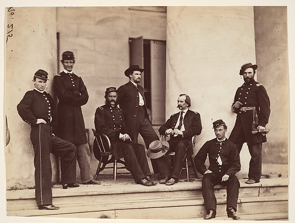 Brigadier General Gustavus A. DeRussy and Staff on Steps of Arlington House, Arlington, Virginia, Alexander Gardner (American, Glasgow, Scotland 1821–1882 Washington, D.C.), Albumen silver print from glass negative