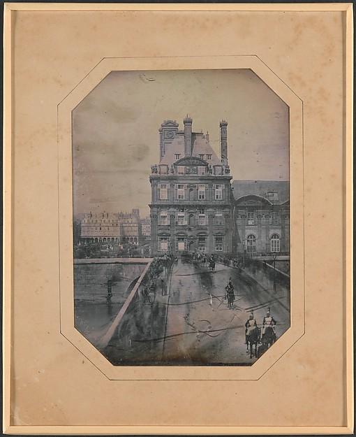 Défilé sur le Pont-Royal, Marie-Charles-Isidore Choiselat (French, 1815–1858), Daguerreotype