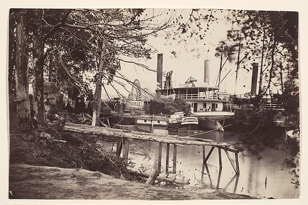 White House Landing, Pamunkey River, Timothy H. O'Sullivan (American, born Ireland, 1840–1882), Albumen silver print