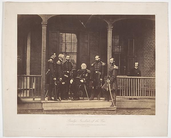 Lieutenent General Scott, General-in-Chief U.S. Army, & Staff, Mathew B. Brady (American, born Ireland, 1823?–1896 New York), Albumen silver print from glass negative