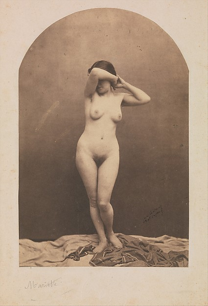 [Standing Female Nude], Nadar (French, Paris 1820–1910 Paris), Salted paper print from glass negative