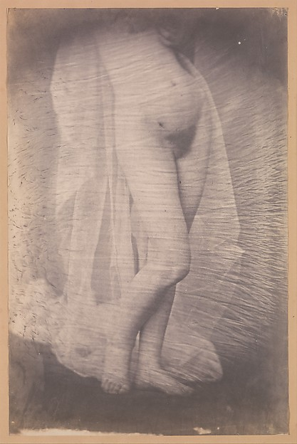 [Standing Female Nude], Unknown (French), Salted paper print from collodion glass negative