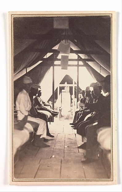 [Wounded Soldiers on Cots, possibly at Harewood Hospital], Reed Brockway Bontecou (American, 1824–1907), Albumen silver print from glass negative