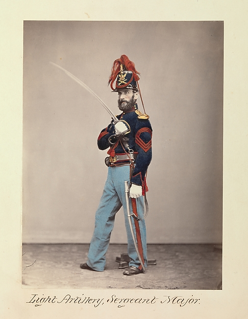Light Artillery, Sergeant Major, Attributed to Oliver H. Willard (American, active 1850s–70s, died 1875), Albumen silver print from glass negative with applied color