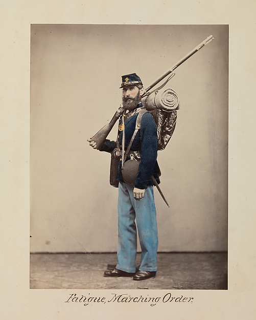 Fatigue, Marching Order, Attributed to Oliver H. Willard (American, active 1850s–70s, died 1875), Albumen silver print from glass negative with applied color