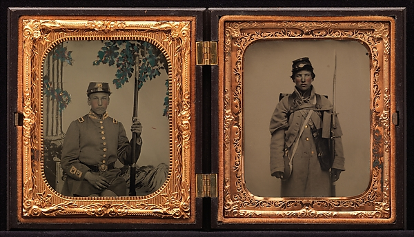 [Union Soldier in Dress Coat, Seated, before Painted Backdrop (left); Union Soldier in Winter Overcoat, Standing, in Full Marching Order (right)], Unknown (American), Ambrotype; tintype