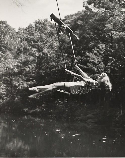 [Woman on Swing, Horizontal], André Kertész (American (born Hungary), Budapest 1894–1985 New York), Gelatin silver print
