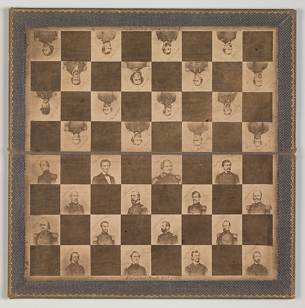 [Game Board with Portraits of President Abraham Lincoln and Union Generals], Unknown, Albumen silver prints from glass negatives