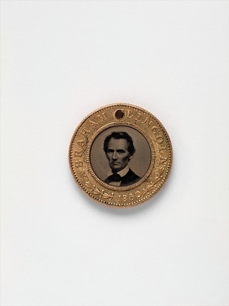 [Presidential Campaign Medal with portraits of Abraham Lincoln and Hannibal Hamlin], Unknown, Tintype