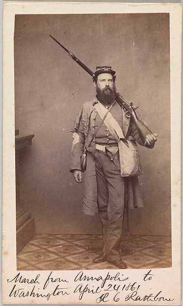 March from Annapolis to Washington, Robert C. Rathbone, Sergeant Major, Seventh Regiment, New York Militia, Unknown, Albumen silver print from glass negative
