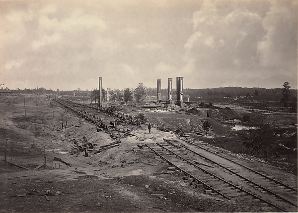 Destruction of Hood's Ordinance Train, George N. Barnard (American, 1819–1902), Albumen silver print from glass negative