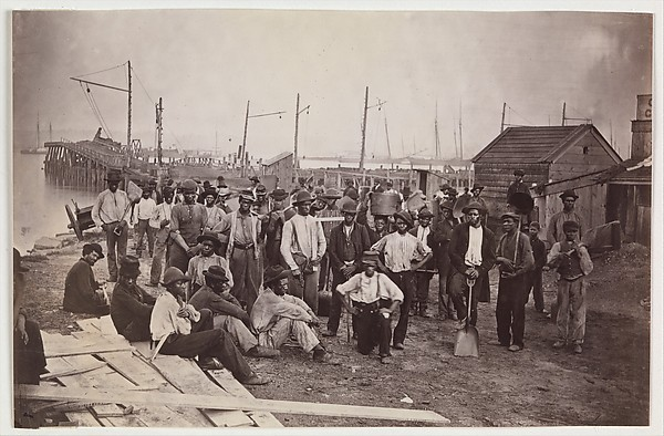 Laborers at Quartermaster's Wharf, Alexandria, Virginia, Attributed to Andrew Joseph Russell (American, 1830–1902), Albumen silver print from glass negative