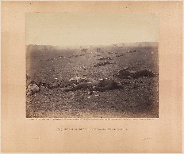 A Harvest of Death, Gettysburg, Pennsylvania, Timothy H. O'Sullivan (American, born Ireland, 1840–1882), Albumen silver print from glass negative