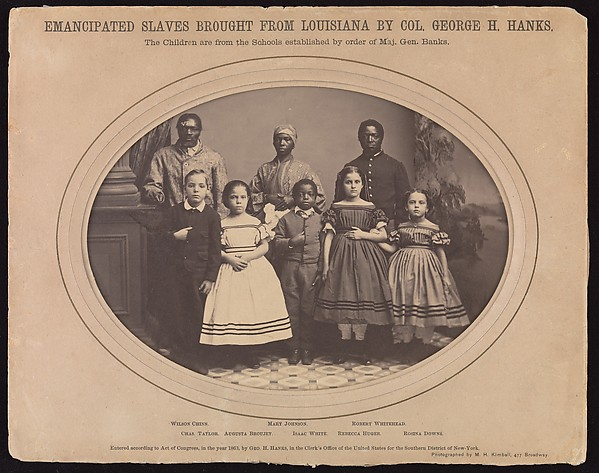 Emancipated Slaves Brought from Louisiana by Colonel George H. Banks, Myron H. Kimball (American, active 1860s), Albumen silver print from glass negative
