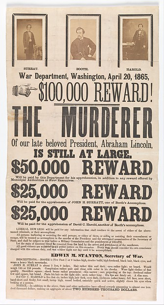 [Broadside for the Capture of John Wilkes Booth, John Surratt, and David Herold], Unknown (American), Ink on paper with three albumen silver prints from glass negatives
