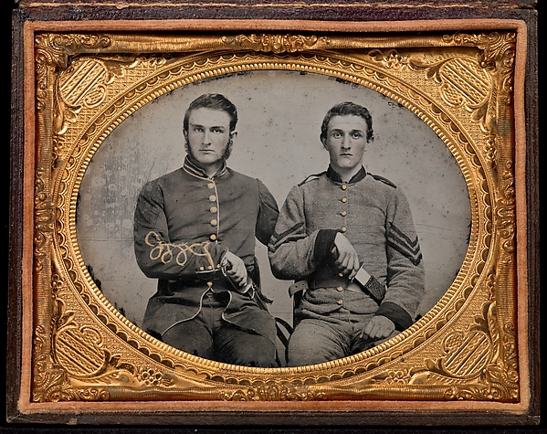 "[Captain Charles A. and Sergeant John M. Hawkins, Company E, ""Tom Cobb Infantry,"" Thirty-eighth Regiment, Georgia Volunteer Infantry], Unknown, Ambrotype"