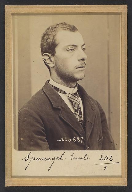 Alphonse Bertillon   Spanagel. Emile, Ignace. 20 ans, né le 28/2/74 à Paris XVlle. Serrurier. Anarchiste. 7/7/94.   The Met
