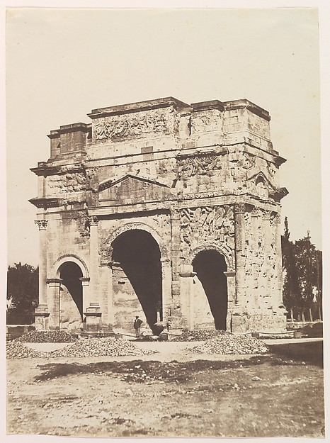 [Roman Arch at Orange], Édouard Baldus (French, born Prussia, 1813–1889), Salted paper print from paper negative