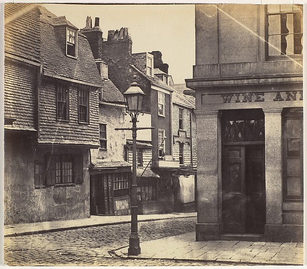 [Street with Lamp Post and Wine Shop], Unknown (British), Albumen silver print