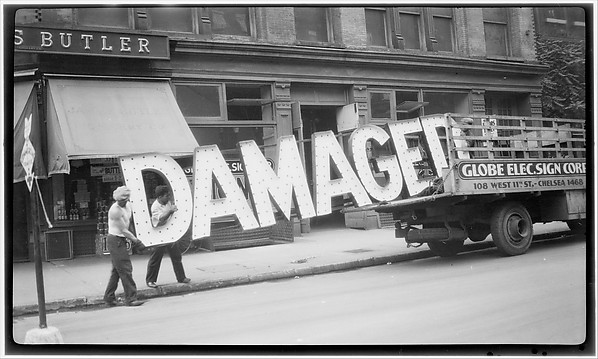 """[Workers Loading Neon """"Damaged"""" Sign into Truck, West Eleventh Street, New York City], Walker Evans (American, St. Louis, Missouri 1903–1975 New Haven, Connecticut), Film negative"""
