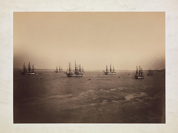 The French and English Fleets, Cherbourg, Gustave Le Gray (French, 1820–1884), Albumen silver print from glass negative
