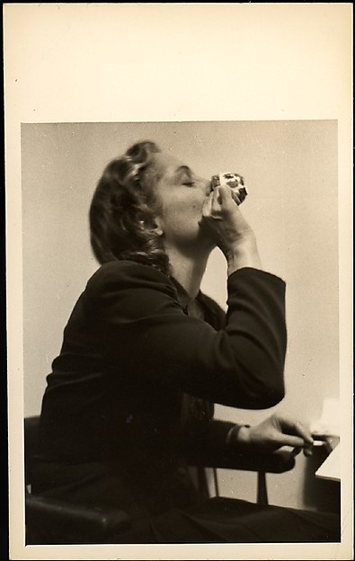 [Eleanor Clark, Drinking from Teacup], Walker Evans (American, St. Louis, Missouri 1903–1975 New Haven, Connecticut), Gelatin silver print