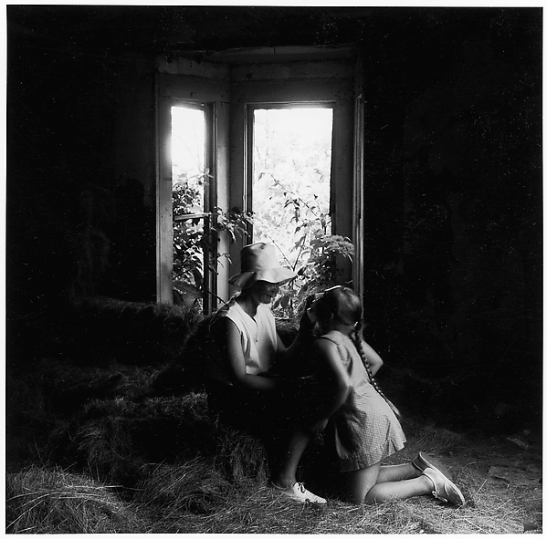 [Girl Kneeling, Looking Up at Mother Before Window], Ralph Eugene Meatyard (American, 1925–1972), Gelatin silver print