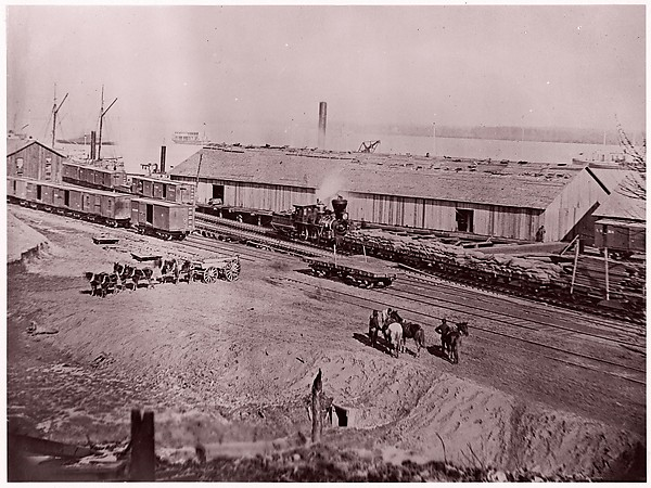 Terminus of U.S. Military Railroad, City Point, Virginia, Andrew Joseph Russell (American, 1830–1902), Albumen silver print from glass negative