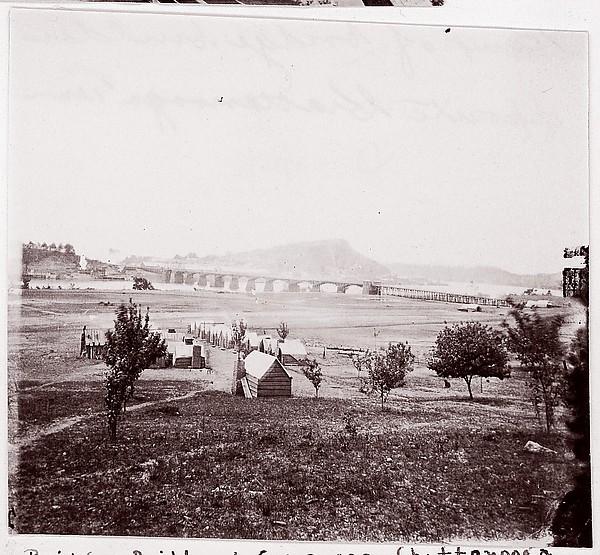 Bridge Builders Camp opposite Chattanooga, George N. Barnard (American, 1819–1902), Albumen silver print from glass negative