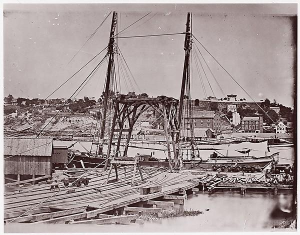Wharf opposite Richmond, John Reekie (American, active 1860s), Albumen silver print from glass negative