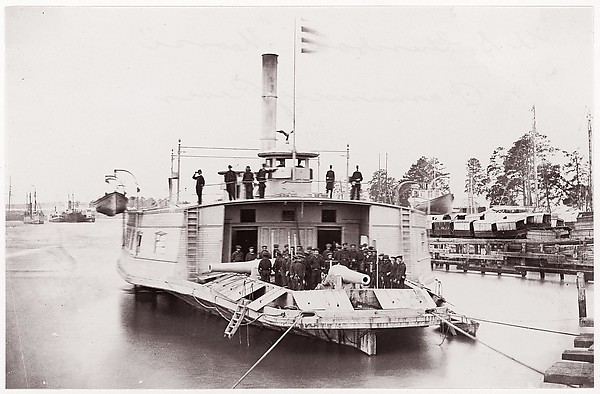"U.S. Gunboat ""Commodore Perry"" on Pamunkey River, Timothy H. O'Sullivan (American, born Ireland, 1840–1882), Albumen silver print from glass negative"