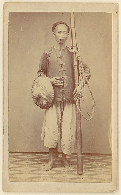 [Man with Bamboo Pole], Unknown, Albumen silver print