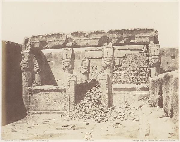 Dendérah (Tentyris), Temple d'Athôr - Sanctuaire Placé a l'Angle Sud-Ouest de la Plateforme Inférieure, Félix Teynard (French, 1817–1892), Salted paper print from paper negative