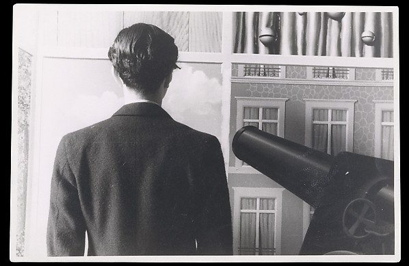 """Edward James in front of """"On the Threshold of Liberty"""", René Magritte (Belgian, Lessines 1898–1967 Brussels), Gelatin silver print"""