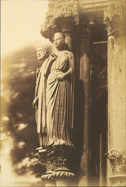 [Large Figures on the North Porch, Chartres Cathedral], Henri-Jean-Louis Le Secq (French, Paris 1818–1882 Paris), Salted paper print from paper negative