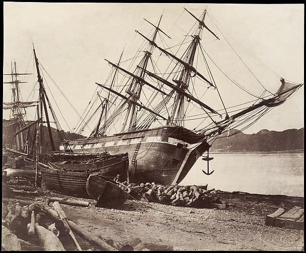 "American Barque ""Jane Tudor,"" Conway Bay, David Johnson (British), Salted paper print from glass negative"