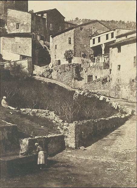 A Street in Grasse, Charles Nègre (French, 1820–1880), Salted paper print from paper negative